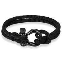 lgtjwls Nautische heren armband Paracord Edelstaal Anker Zwart -21cm