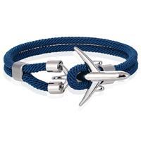 lgtjwls Heren Armband Paracord Vliegtuig Anker Zilverkleurig Lichtblauw-19cm