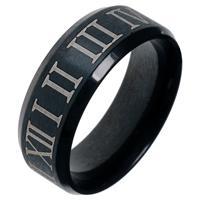 lgtjwls Zwarte stalen ring met Romeinse Cijfers-18mm