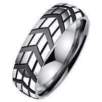 lgtjwls Gegroefde edelstaal heren ring-20mm