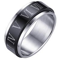 lgtjwls Stalen Spinning ring met Romeinse Cijfers-21mm