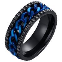 lgtjwls LGT Jewels edelstaal heren ring Cuban Link Zwart Blauw-18mm