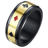 lgtjwls Stalen mannen ring Lucky Cards Spinner Goud Zwart-21.5mm
