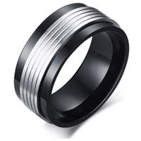 lgtjwls Mannen ring Staal Spinner Black Silver-21mm