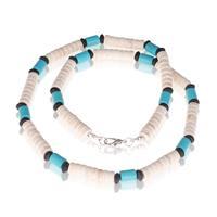 memphis kralen ketting Natuursteen Wit Blauw - 50cm