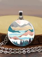 newchic Trendy Metal Round Natural Landscape Print Glass Pendant Necklace