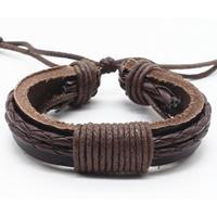 lgtjwls Gevlochten leren armband LGT Jewels Verstelbaar Touw Bruin