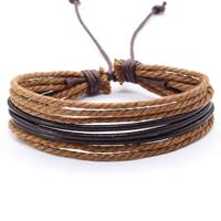 lgtjwls Multi armband LGT Jewels Verstelbaar Leer Touw Bruin
