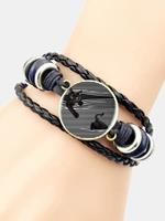 newchic Hand-Woven Leather Bracelet Cat Round Glass Print Head Multi-Layer Women Bracelet