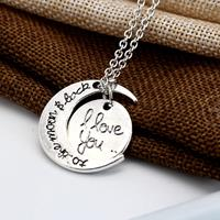 newchic Trendy Metal Geometric Moon Love Necklace I Love You Letter Pendant Necklace