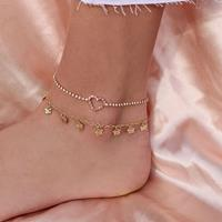 newchic Bohemian Metal Butterfly Tassel Multi-layer Anklet Geometric Peach Heart Rhinestones Pendant Chain Anklet