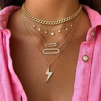 newchic Geometric Lightning Oval Multi-layer Necklace Metal Pentagram Tassel Pendant Necklace