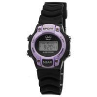 Q&Q Zwart met paars digitale kunststof  horloge