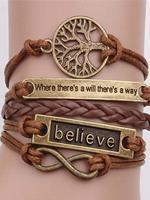 BERRYLOOK Vintage bronze life bark rope bracelet necklace on hand