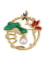 Diemer perle Broche Bloemen  Multicolor