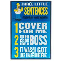 Fiftiesstore Homer Simpson Three Little Sentences Reliëf Tinnen Bord