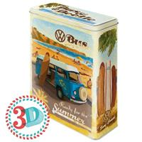 Fiftiesstore VW Volkswagen Bus & Beetle Surf Coast Tin Box XL