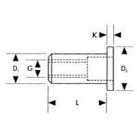 Gesipa Standaard blindklinkmoer Vlakrondkop Aluminium M8x11x17,0mm