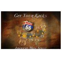 Fiftiesstore Route 66 Get Your Kicks America's Main Street Metalen Poster