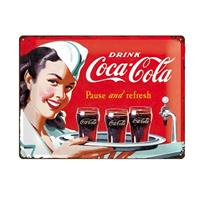 Fiftiesstore Metal Sign Coca-Cola Pause And Refresh 30 x 40 cm