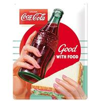 Fiftiesstore Coca-Cola Good With Food Metalen Bord 30 x 40 cm