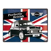 Fiftiesstore Metalen PlaatMini Perfectly British' 30 x 40 cm