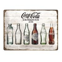 Fiftiesstore Metalen Plaat 'Coca Cola In The Distinctive Bottle' 30 x 40 cm