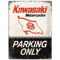 Fiftiesstore Kawasaki Motorcycles Parking Only Metalen Bord 30 x 40 cm