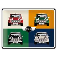 Fiftiesstore Mini Cooper Pop Art 4 Auto's Metalen Bord 30 x 40 cm