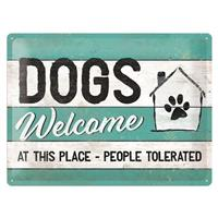Fiftiesstore Dogs Welcome At This Place-People Tolerated Reliëf Metalen Bord 30 x 40 cm