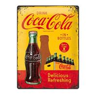 Fiftiesstore Metal SignDrink Coca-Cola In Bottles' 30 x 40 cm