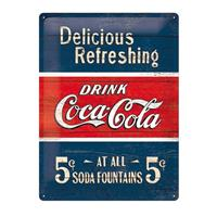 Fiftiesstore Metal Sign Coca-Cola5 ct At All Soda Fountains' 30 x 40 cm