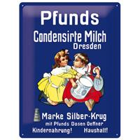Fiftiesstore Metalen Plaat Pfunds Milch 30 x 40 cm