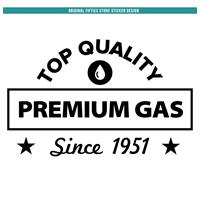 Fiftiesstore Sticker Top Qualilty Premium Gas : Zwart