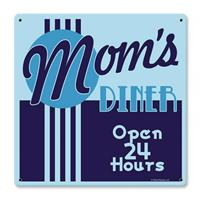 Fiftiesstore Mom's Diner - Open 24 Hours Zwaar Metalen Bord