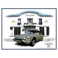 Fiftiesstore Citroen DS19 Garage Reliëf Metalen Bord