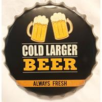 Fiftiesstore Cold Lager Beer Always Fresh Flessendop Metalen Bord 40 cm