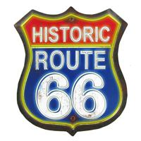 Fiftiesstore Historic Route 66 Red & Blue Metalen Bord Met Relief
