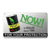 Fiftiesstore Polly Premium Motor Oil Now In Sealed Quart Tins Zwaar Metalen Bord 34 x 20 cm