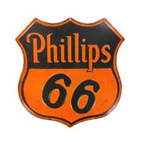 Fiftiesstore Phillips 66 Embossed Die Cut Metalen Bord