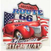 Fiftiesstore Historic Route 66 America's Highway Hot Rod Bord Met Relief 40 x 39 cm