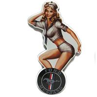 Fiftiesstore Ford Mustang Pin-Up Emaille Bord 20 x 11 cm