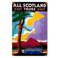 Fiftiesstore All Scotland S.M.T. Tours Zwaar Metalen Bord
