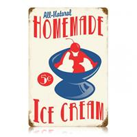 Fiftiesstore Home Made Ice Cream Zwaar Metalen Bord