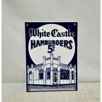 Fiftiesstore White Castle Emaille Bord