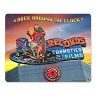 Fiftiesstore Rock Around The Clock Records Cosmetic Films Zwaar Metalen Bord 37 x 29 cm