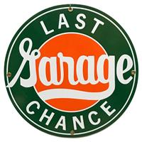 "Fiftiesstore Last Chance Garage Emaille Bord 12"" / 30 cm"