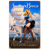 Fiftiesstore Summer Breeze - Home For Rescued Dogs Pin-Up Zwaar Metalen Bord 45 x 30 cm