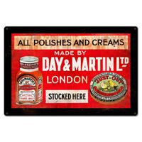 Fiftiesstore All Polishes And Creams Made By Day & Martin Ltd London Zwaar Metalen Bord 45 x 30 cm