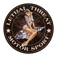 Fiftiesstore Lethal Threat Motor Sport Pin Up Rond Zwaar Metalen Bord 35 cm ø